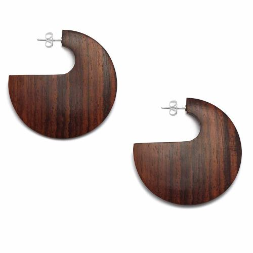 Branch Jewellery Large Flat Shaped Hoop Earrings in Rosewood with Sterling Silver